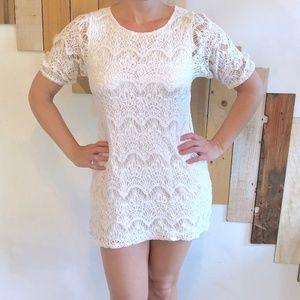 White Lined Lace Mini Dress w/ Puffed Half Sleeves